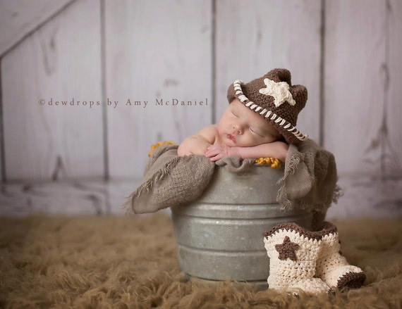 Cowboy Hat and Boots - Baby Photo Prop - Shower Gift