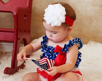 Red Blue White Baby Romper, Baby Girl Romper 4th of July & White Dahlia Flower Headband, Baby Ruffle Romper, Petti Lace Romper, Pettiromper