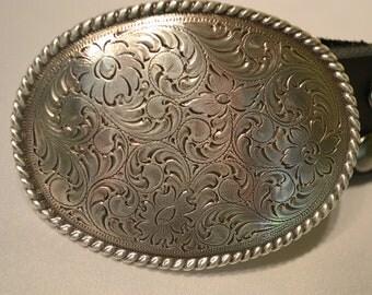 Engraved  Oval Trophy  Belt Buckle for  Snap Belts
