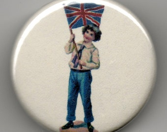 Patriotic Boy with a Union Jack flag, 1.25 inch BUTTON/PIN/BADGE Vintage Image