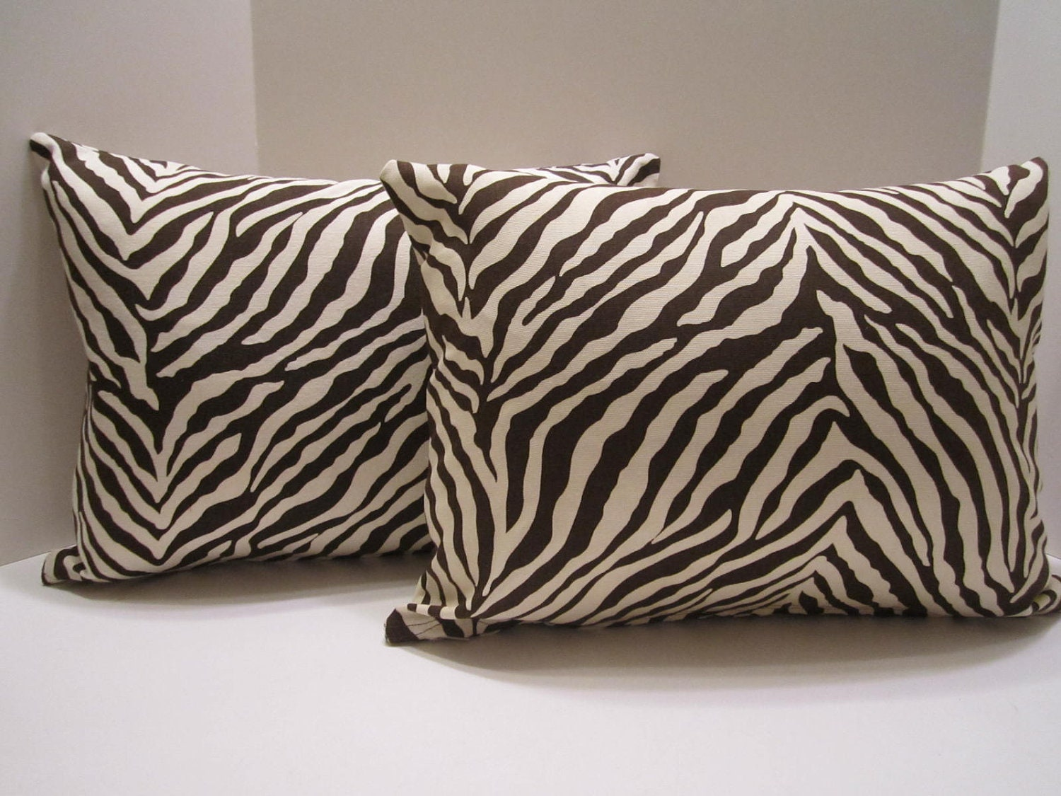 Zebra Design Lumbar Pillow Covers Brown And White Zebra