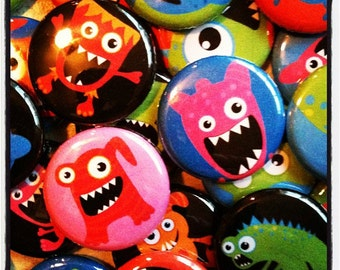 "Lil Monster Buttons -  1"" Buttons - Set of 20 - Pin Back, Flat Back, or Hollow Back Buttons - Little Ugly Monsters  - Birthday Bash Favors"