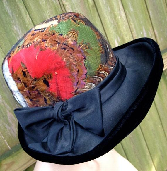 RESERVED vintage wide brim hat - 1940s-50s designer feathered bow hat by Juan Ell Modes