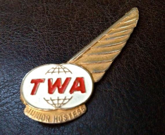 "vintage TWA pin - 1960s ""Junior Hostess"" airline pin"