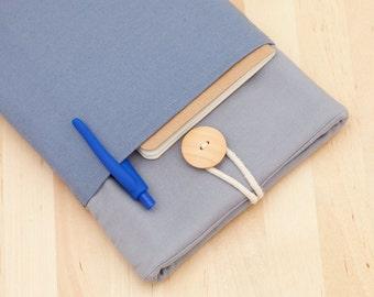 ipad mini cover / ipad mini case / ipad mini sleeve - plain blue and grey with pockets -