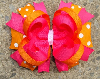 Pink and Orange Hair Bow Summer Hair Bow with elastic headband
