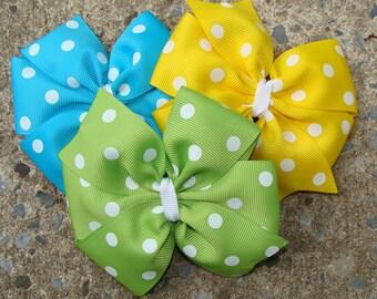 Large Pinwheel Hair Bows Set Polka dot Hair Bow