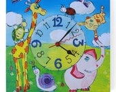 """Decorative Wall Clock, Wooden Art, Blue and Green with animals - """"Animals"""" Model"""