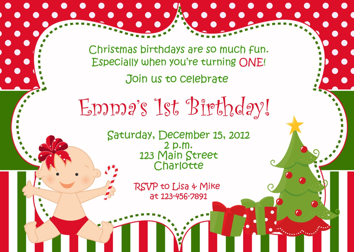 Items similar to First birthday Christmas party invitation ...