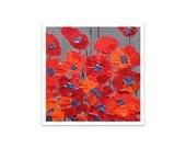 "RED POPPY print - Fine art print- red orange Spring FLOWERS 8""x8"" by devikasart on Etsy"