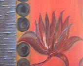 "FLOWER Fine art PRINT- SET of 2- 8""x8"" grey red orange black by devikasart"