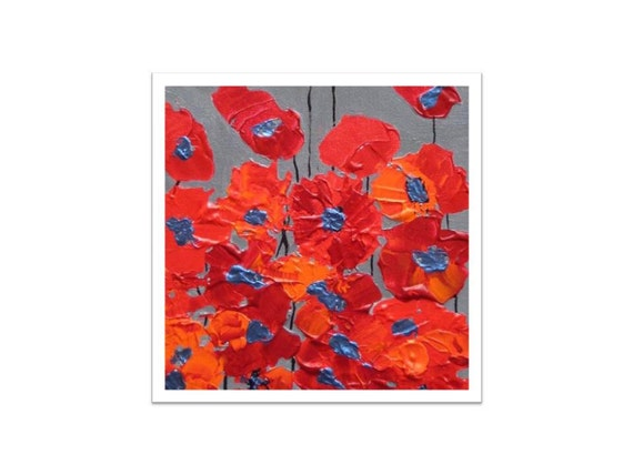 "RED POPPY print - Fine art print- red orange Spring FLOWERS 8""x8"" by devikasart on Etsy"