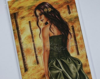 Golden Forest Goth Nature Girl Greeting Card