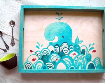 Illustrated painted wood tray. Funny happy whale illustration