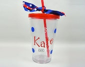 Red White and Blue Polka Dot Design Personalized Tumbler