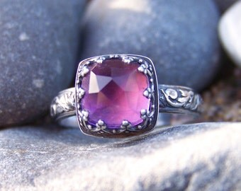 Princess Lily  Ring - 8mm Cushion Rose Cut Amethyst in Heart Crown Bezel