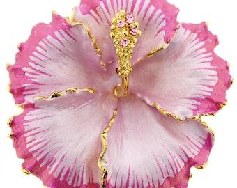 Fuchsia Pink Hawaiian Hibiscus Flower Pin Brooch/Pendant 1010121