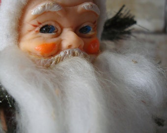 Vintage Mr Claus Felted Ornament Adorable 1950s or 60s