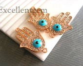 3 pcs High quality rose gold tone with blue evil eye,clear rhinestone Hands of Fatima Hamsa Bracelet Connector