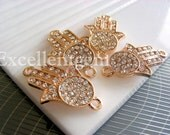 5 Rhinestone connector Rose Gold plated rhinestone Hands of Fatima Hamsa Bracelet Connector jewelry making
