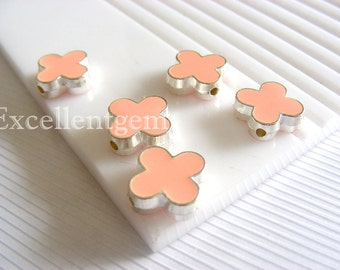Silver plated Double-sided Metal Clover Connector  in baby Pink color- 15mm