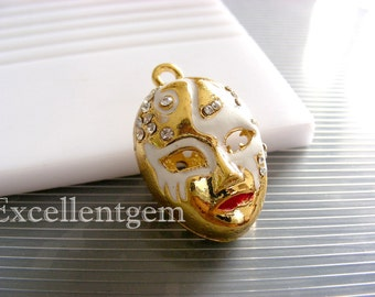 Fine Mask Pendant-Gold tone Brass crystal rhinestone mask pendant in white color