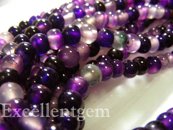 Full strand Lovely Agate round beads in Colorful purple color--- 6mm--65pcs