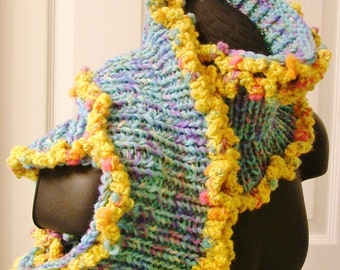 Yellow Sunshine Monet Aruba Sea Blue Cowl