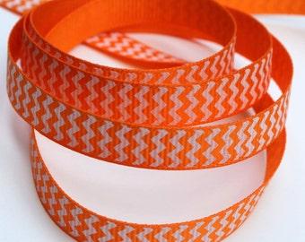 Orange Chevron Grosgrain Ribbon 3/8 Inch 9mm