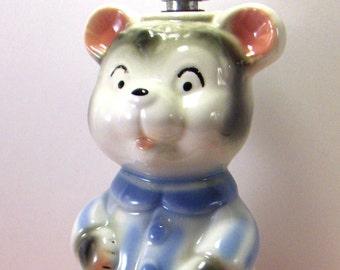 Vintage Nursery Lamp - Teddy Bear Babies Room Lamp in Blue Shirt - Converged Commodities - epsteam * vestiesteam * thebestvintage