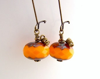 Pumpkin Earrings - Czech glass beads in pumpkin orange with kidney style brass ear wires - Orange Earrings - customizable