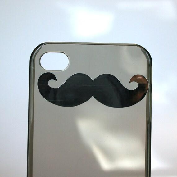 iPhone 4 4s small mustache black/grey clear hard case - CHROME SILVER STACHE