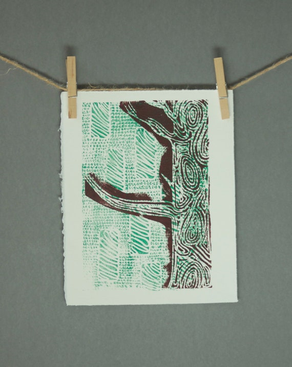Woodland Tree Linocut POSTER Brown and Green 8x10 Printmaking hand pulled linocut linoprint