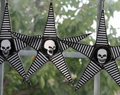 Scary Skull Star- lacquered fabric on glass star- fun Halloween decor