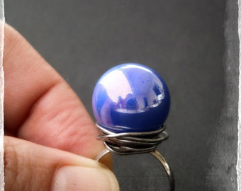 Strange Electric Blue Marble Ring by Dryw on Etsy