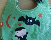 Baby Bib Reversible Green Black Halloween