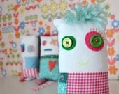 patchwork doll - cute bright cushion monster doll - decorative doll - bright colors - soft toy - nursery decor birthday girl - monster doll