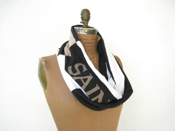 new orleans saints t shirt infinity scarf black white by