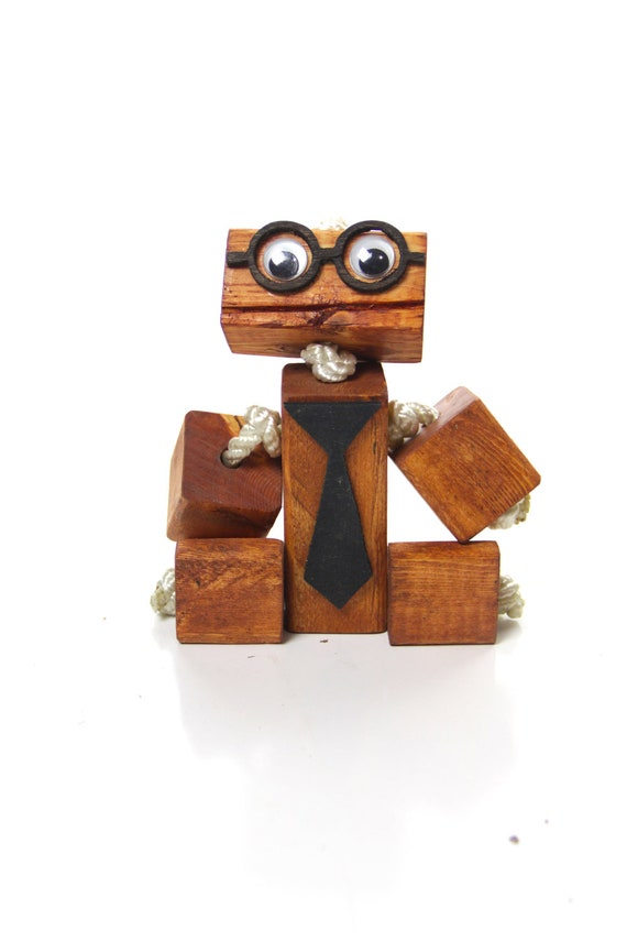 Nerd Wooden toy robot with glasses and tie, wood robot, children's toy