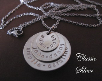 Cupped Custom Stacked Mothers Necklace in Nickel Silver with a Matte finish