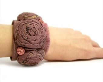 Retro Cuff Bracelet, Rolled Rosettes Fabric Bracelet
