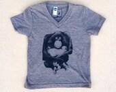 Orangutan Monkey Kids T-shirt, Youth American Apparel Heather Coffee Brown Tri-Blend Tee