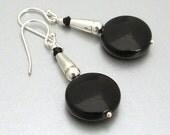 SALE 40% OFF - Sterling Silver Black Onyx Coin Earrings