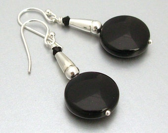 Sterling Silver Black Onyx Coin Earrings