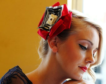 The RUBY - red headpiece, red fascinator, red hat, red hair piece