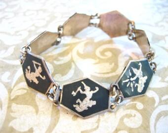 Vintage Sterling Silver Niello Dancers Siam Link Bracelet