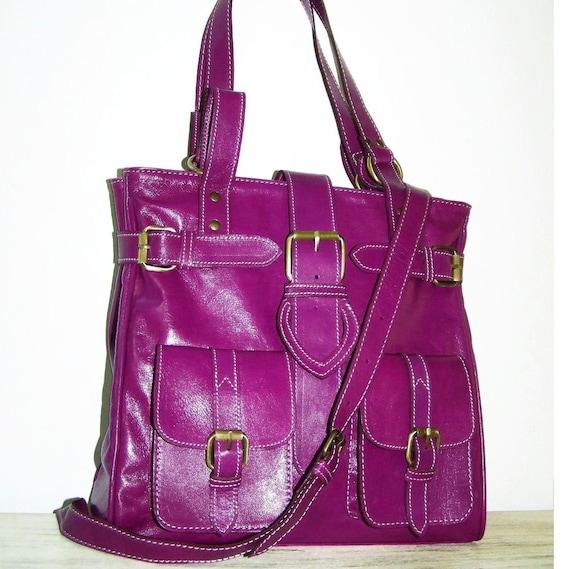 Reserved listing for Carla---Purple Leather Bag / Handbag / Purse / Shoulder / Cross-body Bag Orea Size M