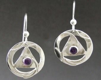 """Sterling silver, AA, 12 Step Unity Earrings, 3/4"""" diameter pierced design, Amethyst stones, Regina Marie Designs"""