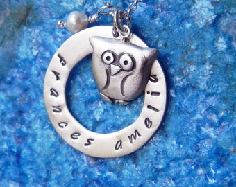 Personalized owl necklace in sterling silver hand stamped with name monogram or initial - gift for mom for teacher Graduation gift