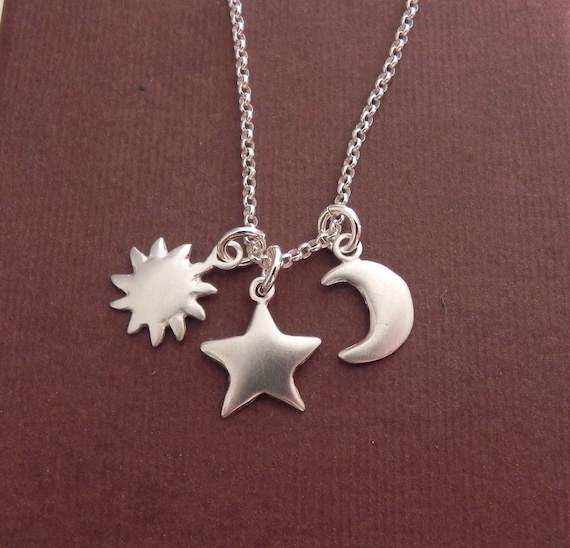 Sun Star And Crescent Moon Sterling Silver Necklace You Are